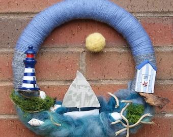 It's a Beautiful Day -  Wool Art Craft Wreath. Coastal Scene Wreath. Sailing Boat Scene. Sailing Boat Wreath. Summer Wreath. Ocean Wreath.
