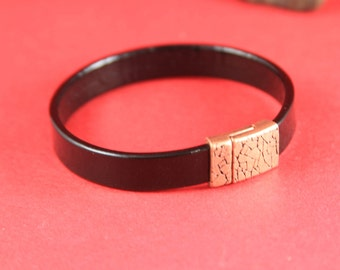 5B/5 MADE in EUROPE zamak magnetic clasp, 10mm flat cord magnetic clasp, 10x2mm copper magnetic clasp (Tm10x3KRC) Qty1