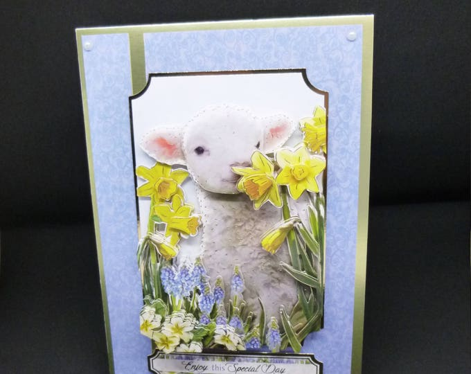 Spring Lamb Card, Handmade 3 D Decoupage Card, Spring Time, Cute Lamb, Spring Flowers,  Birthday Card, Greeting Card, Male or Female,