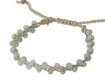 Beaded Bracelet with Pull-Tie Closure in Mint / Adjustable Bracelet / Stackable Bracelet / Pastel Jewelry / Dainty Bracelet / Gift for Her