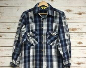 Vintage 80's Work N' Sport heavy flannel shirt blue oversized boyfriend shirt Made in USA  vintage workwear camping hunting - Small/Medium
