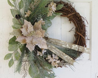 NEW! Christmas Poinsettia Wreath, Winter Wreath, Natural Pine Wreath, Front Door Wreaths