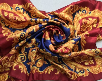 Vintage Pure Silk Scarf - Red Gold and Blue Crest Design - Perfect Unused from 1970s Stock