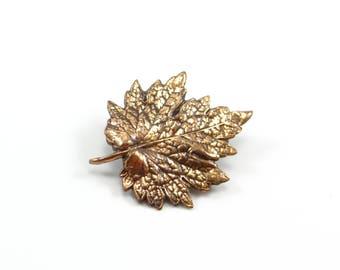 Copper Leaf Brooch, Vintage Leaf, Copper Jewelry