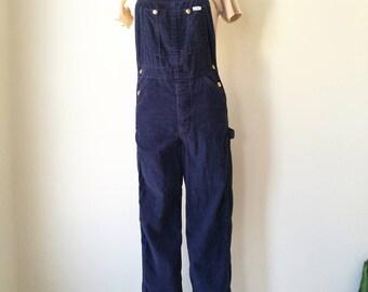 Vintage Lee corduroy navy bib overalls coveralls  small