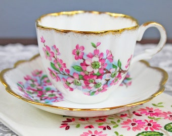 Vintage Taylor and Kent Cherry Blossom Floral English Bone China Teacup and Saucer - Scalloped Rims, Gifts for Her Tea Party