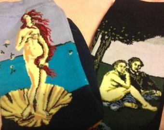 Art Socks Set,Fine Art,2 Trouser Socks,Venus & Manet Luncheon on the Grass, Gift for Women,Artsy Women Socks, Art Holiday Gift