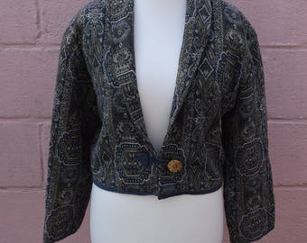 Vintage Flash Back tapestry cropped jacket, size large