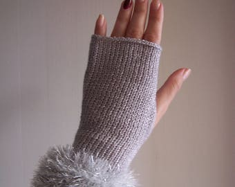 knit glamour glittery sparkly gray festive club fingerless gloves with sparkly faux fur trim