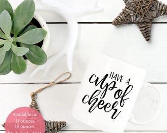 Cup of Cheer, Coffee Mug, Hand Lettered Coffee Mug, Christmas Gift Mug, Gift for Coworker, Holiday Mug