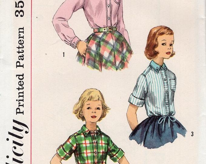 FREE US SHIP Vintage Retro 1950's 50's Sewing Pattern Simplicity 2207 Girls Set of Shirts Drawstring Uncut size 8 Breast 24