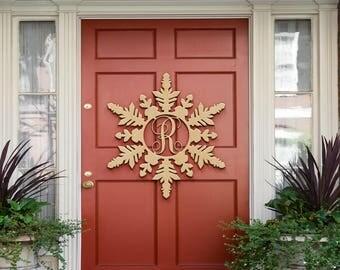Christmas snowflake decorations, Monogram, Holiday, Monogram Letters, Interlocking Script, Door Hanger Wreath, Christmas, Winter Holiday Dec