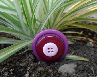 Purple, Burgundy and pale pink vintage button ring