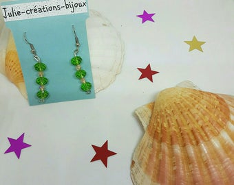 Earrings with Crystal beads and bicone beads