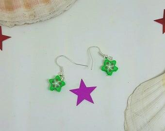 Green fruit earrings