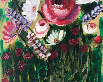 """Roses & Daisies In Acrylic """"9X12"""" Canvas Board  