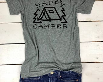 Happy Camper, Happy Camper Shirt, Camping shirt, Mom Life, Mom Gift, Wedding Gift, Mountains are Calling and I must Go, Adventure is calling