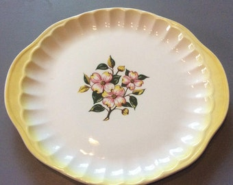 Vintage Cake Plate Round Serving Platter Yellow Trim Pink Dogwood Blossoms