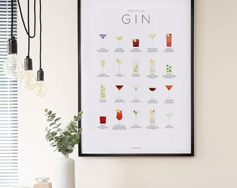 Gin poster – Gin cocktails print – Cocktail art – Cocktail gifts – Gin print – Gin gifts – Infographic – Kitchen art – Kitchen poster