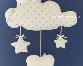 Stitchable blue polka dot cloud with customizable name