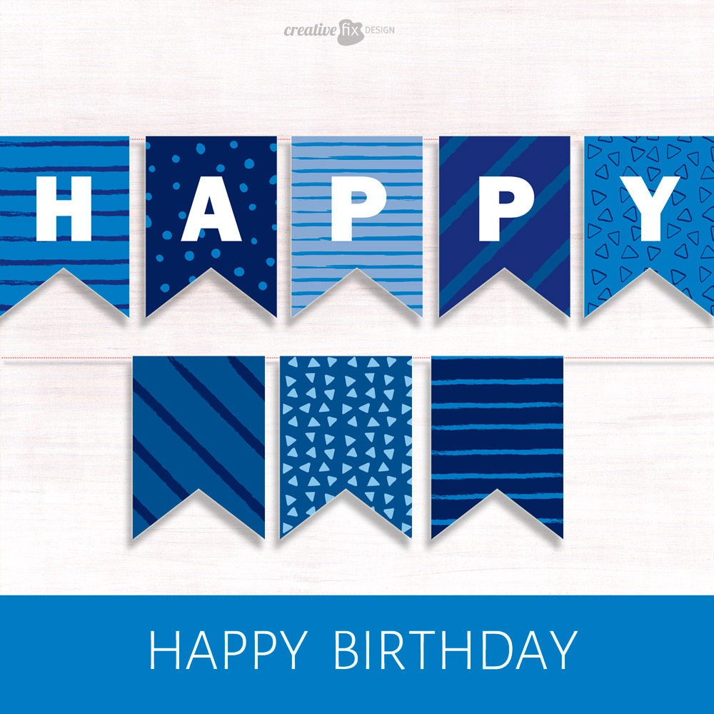 Printable Banner BLUE Happy Birthday Pretty diy Decor Blue