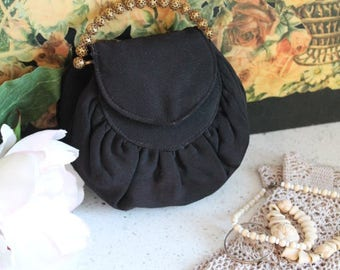 Vintage Evening Purse/1940's Crepe Evening Bag/Black Crepe Evening Purse/Wedding/ (ref1955M)