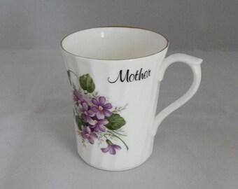 "Vintage Royal Stuart Fine Bone China Cup, Royal Stuart ""Mother"" Cup, Made in England, Royal Stuart Violet Pattern Mug"