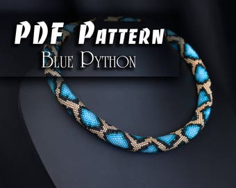 PDF Pattern for bead crochet necklace - Jewelry patterns - Python pattern