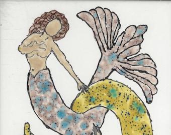 Mermaid Merman Couple 301 Hand Painted Kiln Fired Decorative Ceramic Wall Art Tile 8 x 6