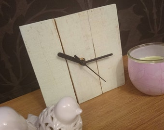Rustic recycled square wooden clock with green painted finish and black hands - mantel clock / farmhouse / shabby chic / cottage