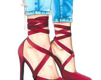 Red ribbon heels fashion illustration original
