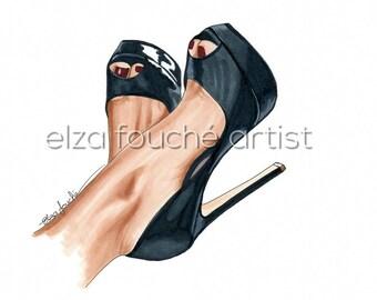 Black heels fashion illustration art
