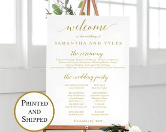 Printed Wedding Welcome and Program Print, Calligraphy Welcome Sign, Wedding Welcome Sign, Welcome Wedding Poster, Multiple Sizes