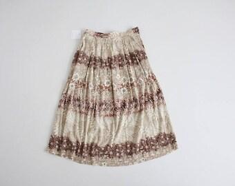 beige floral skirt | 90s skirt | floral midi skirt