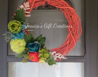 Ready to Ship Coral Grapevine Wreath/Front Door Wreath/Beach/Summertime/Welcome/Hydrangeas/Peonies/Monogram/Everyday/Housewarming Gift