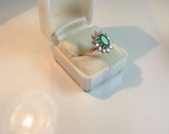 18K Yellow & White Gold Emerald and Diamond Ring