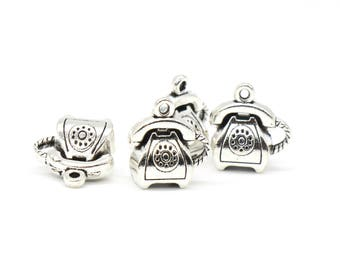 4 Pcs Telephone Charms Antique Silver Tone 3D 14x15mm - YD0706