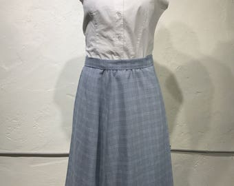 Vintage Navy Blue and White Plaid Midi Skirt