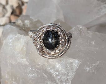 Black Star Diopside Sterling Silver Ring, size 7