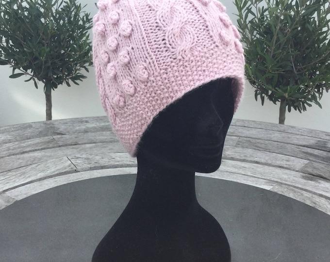 Ladies Alpaca beanie hat, pink bobbly alpaca watch cap by Willow Luxury (one size)