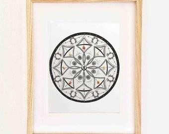 mandala art print with crystals - Svadishthana, chakra art, mandala print, spiritual art, yoga art, mandalas, inspirational art, yoga studio