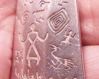 Southwestern Native American Vintage Sterling Silver Pendant  Petroglyphs Pictographs Silver Mesa Co