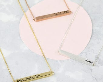 Personalised Horizontal Bar Necklace