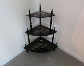 Oriental Design Black Lacquer Corner Table