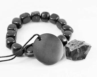 Shungite bracelet vibes + pendant and noble stone armband, Shungite chakra bracelet, Crystal vibe pendant, elite shungite S012