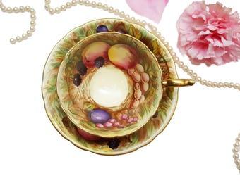 Aynsley Artist Signed N Brunt Golden Orchard Fruit Teacup, English Bone China Tea Cup
