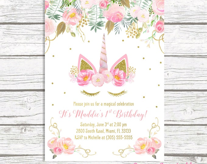 Unicorn Invitation, Unicorn Birthday Invitation, Unicorn Face Invitation, Girl 1st First Birthday Party Invitation, Pink and Gold Invite