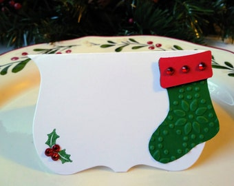 Christmas place card/red and green christmas stocking/ christmas stocking place card/set of six