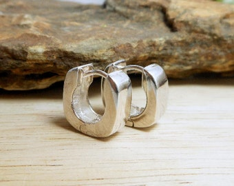 Unisex Handcraft 925 Silver 5 MM Wide Rectangle Huggie Earrings,Rectangle Huggie Earring,Geometric Earring,Pierce Earring,Personalized Gifts