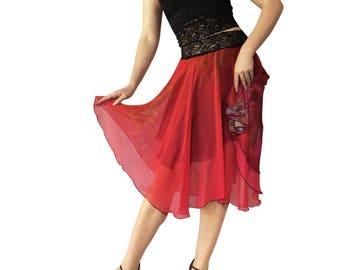 Rose Floral Vignette Chiffon Circle Tango Skirt